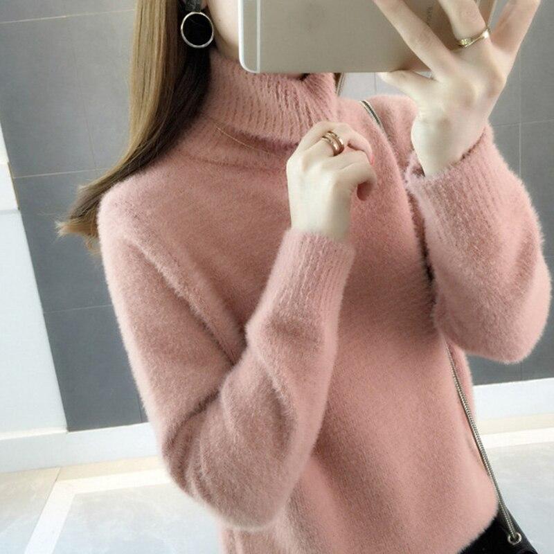 Winter Woman Jumper Wool White Velvet High Collar Sweater  Warm Cashmere Plush Pullover  Loose Plus Size Turtleneck  Fashion
