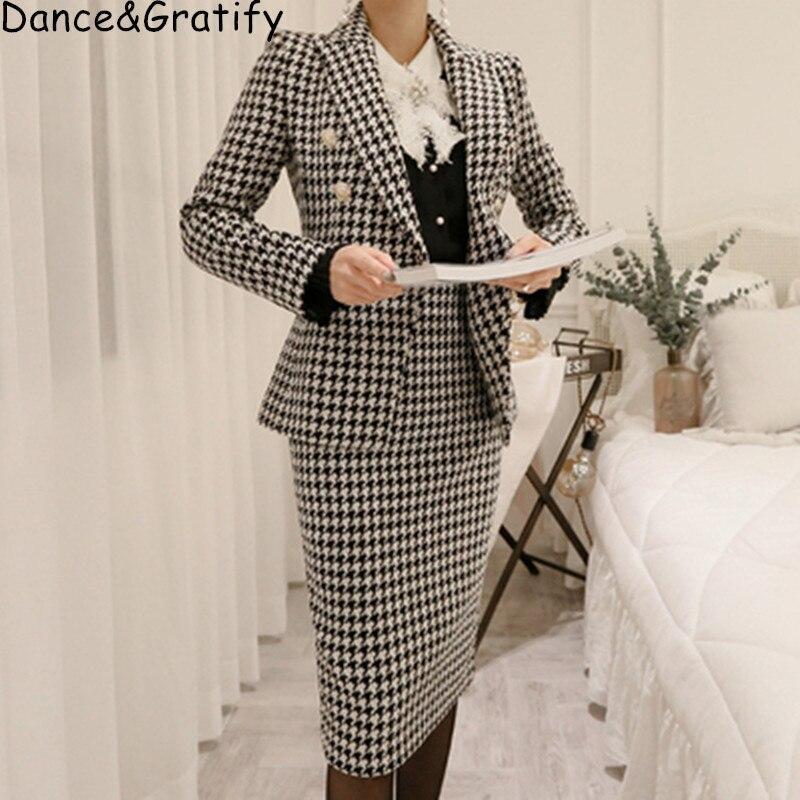 Nouveau mode confortable chaud Plaid Blazer costume Simple Slim moulante jupe sauvage travail Style haute qualité en plein air tendance manteau ensemble