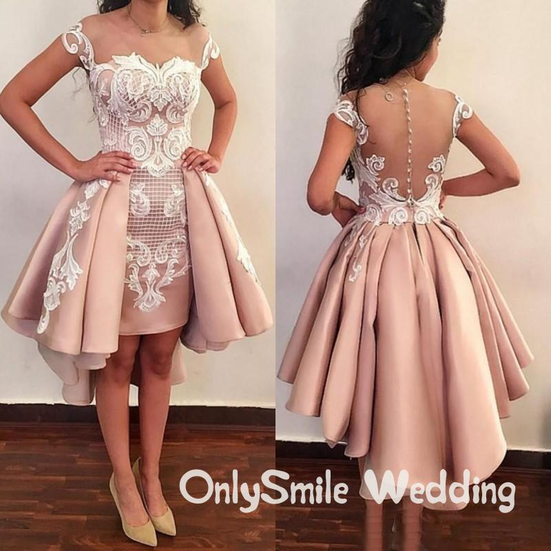 High Low Prom Dresses 2019 Lace Appliques Lace Appliques Formal Evening Wear With Detachable Train Custom Made Evening Gowns