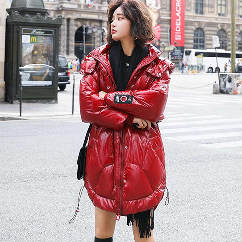Foxmertor Зимний белый утиный пух длинный женский пуховик 2019 новый с капюшоном на молнии свободный большой размер черный красный Женская куртка
