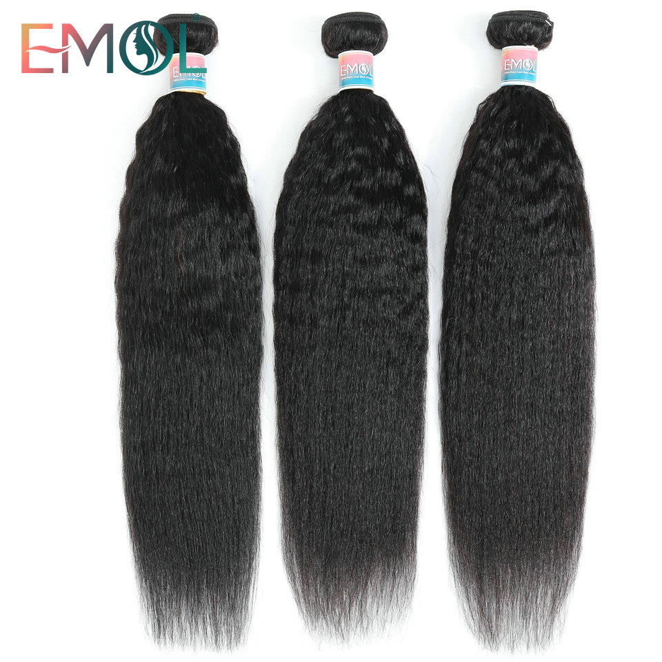 Emol Kinky Straight Hair Bundles Brazilian Hair Weave Bundle Coarse Human Hair Bundles Non-Remy Hair