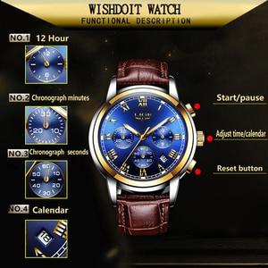 Image 2 - LIGE Gold Watch Men Fashion Business Quartz Clock Men's Watches Top Luxury Waterproof Leather Military Watch Relogio Masculino