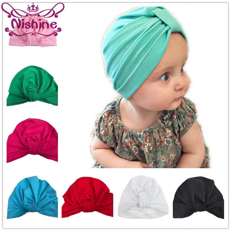 Nishine Baby Turban Hat With Bow Toddler Hat Cotton Newborn Beanie Stylish Top Knot Beanie Photo Props Baby Shower Gift