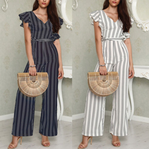 Black White Striped Jumpsuits Women's Ruffles Rompers Overalls Sleeveless Bodycon Chiffon Wide Leg Long Pants Playsuits