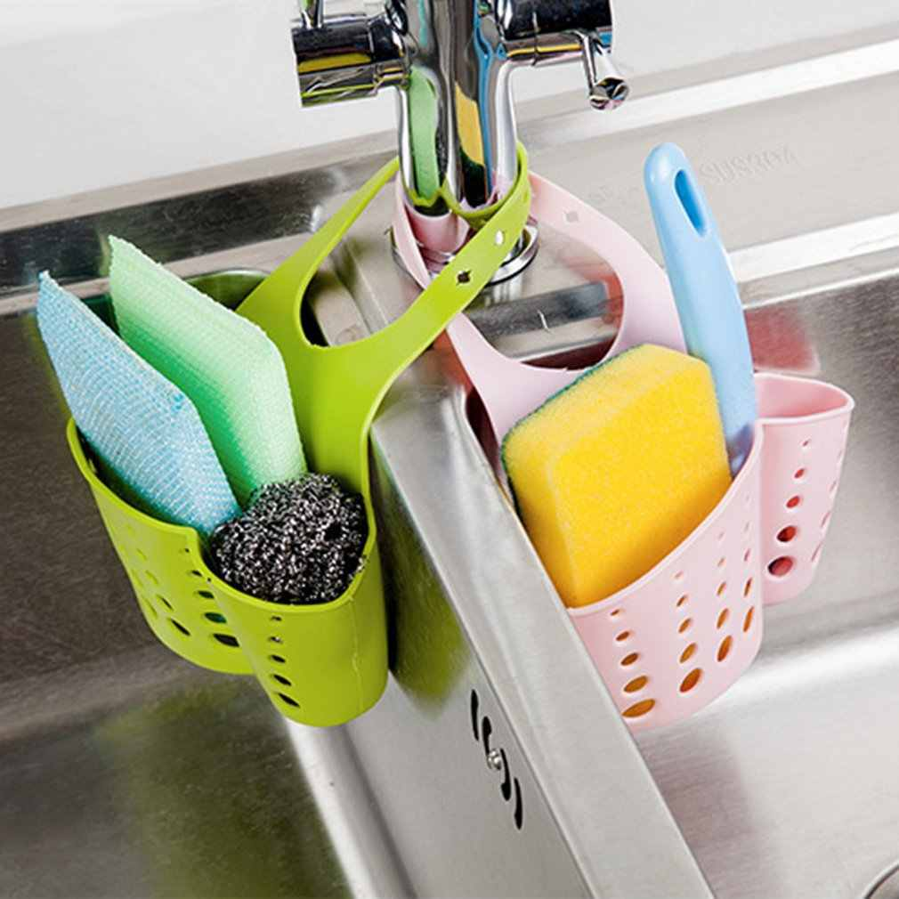 Küche Sink Drain Korb Verstellbare Druckknopf Typ Hängen Drain Basket Dish Tuch Schwamm Halter Lagerung Korb