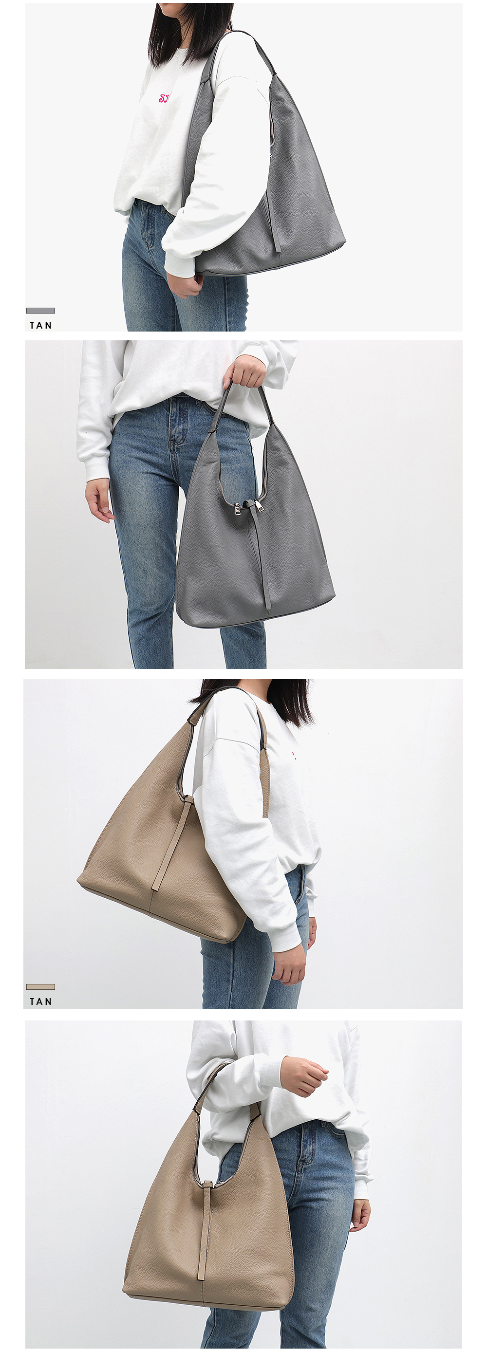 Sc couro genuíno hobo sacos das mulheres