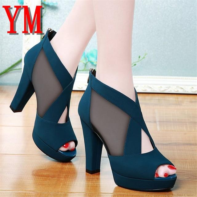 Gladiator Sandals Women Shoes Sexy Peep Toe Pumps Cross Womens Blue Mesh Ladies Shoe Zapatos Mujer High Heels Wedding Plus 35-40 Uncategorized Fashion & Designs Ladies Shoes Women's Fashion