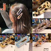 12Styles Fashion Women Girls Side Hair Clip Hollow Geometric Water Drop Shape Duckbill Hairgrips Colored Marble Textured Printed