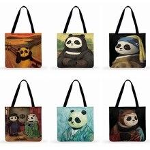 Women Handbags Panda-Painting Funny Ladies Casual Tote Fashion Foldable