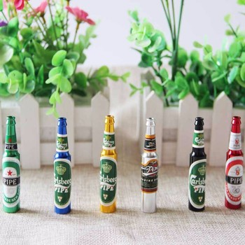 Smoking Pipe Herb Tobacco Pipes Gifts narguile Weed Grinder Smoke 6 colors Pipes Mini Beer Smoke Metal Pipes Portable Creative herb grinder machine metal for smoking weed hand muller grinder weed for glass water pipe