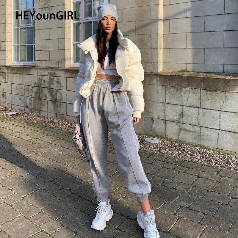 HEYounGIRL Gray Baggy High Waist Sweat Pants Women Casual Elastic High Waist Trousers Ladies Stripes Fashion Joggers Streetwear