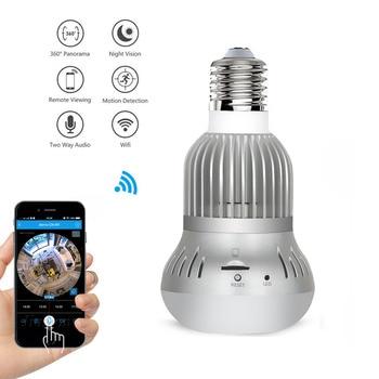 Luz LED inalámbrica 960P cámara panorámica IP WiFi Fisheye bombilla lámpara 360 grados seguridad del hogar CCTV Micro vigilancia Lamba kamera