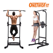 OneTwoFit Pull Up Bar Dip Station Power Tower Large Wide Push Up Station Fitness Equipment for Home Gym Exercise Chin Up Bar