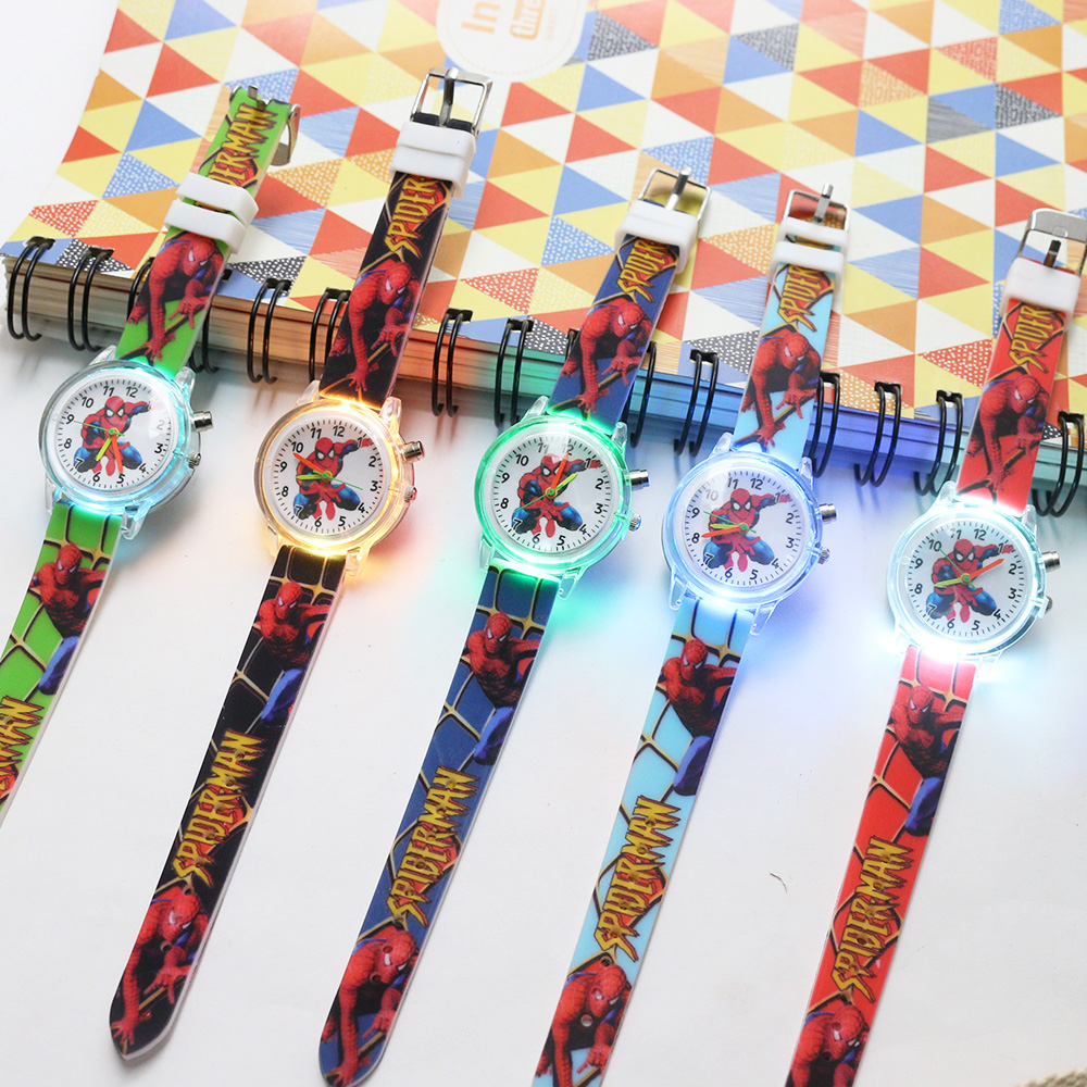 10 Pcs Flash Light Spiderman Children Watches Kids Princess Elsa Colorful Light Source Girls Watch Boys Party Gift Clock Wrist