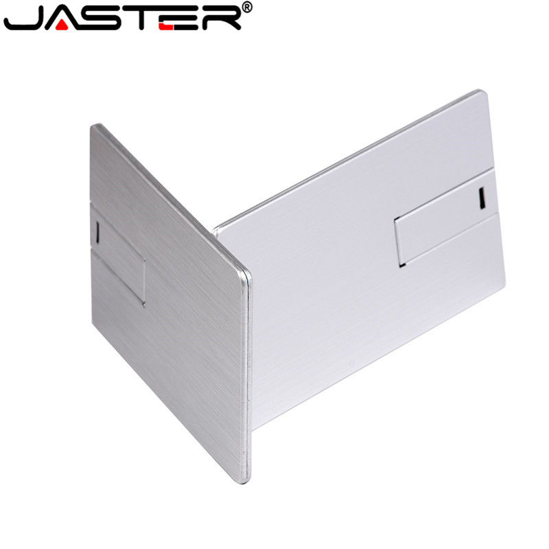 JASTER Custom LOGO Usb 2.0  Flash Drive 4GB 8GB 16GB 32GB 64GB Metal Card Pendrive Business Gift Usb Stick Credit Card Pen Drive