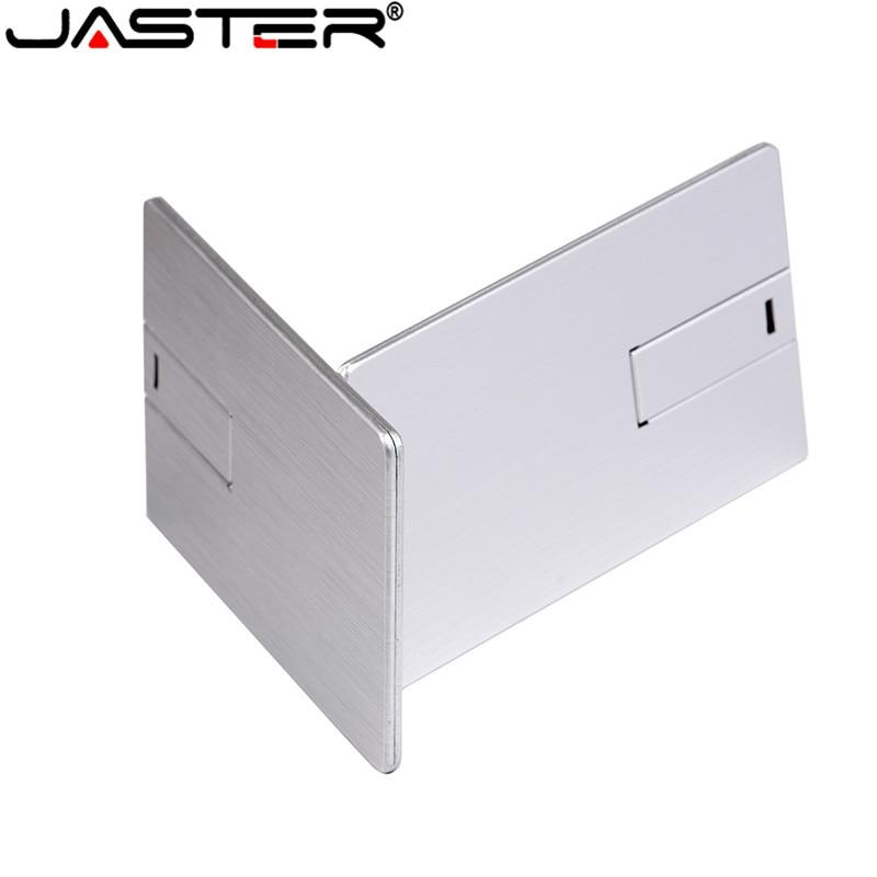 JASTER Custom LOGO Usb 2.0  Flash Drive 4GB 8GB 16GB 32GB 64GB Metal Card Pendrive Business Gift Usb Stick Credit Card Pen Drive