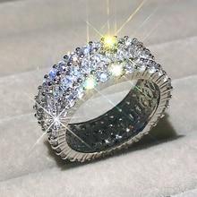 Bagues de luxe en argent Sterling 925 pour femmes, brillante, coupe en diamant, imitation de fiançailles, ensemble de bagues de mariage, bijoux