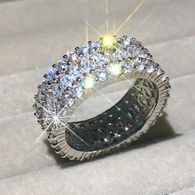 Luxury 925 เงินสเตอร์ลิงแหวนเงินผู้หญิงMarquise Brilliant CUTเพชรจำลองจัดงานแต่งงานแหวนหมั้นแหวนเครื่องประดับ