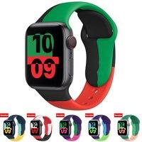 Cinturino in Silicone nero morbido per Apple Watch Series 6 5 4 3 2 SE 38MM 42MM cinturino in gomma per iWatch 6/5 40MM 44MM