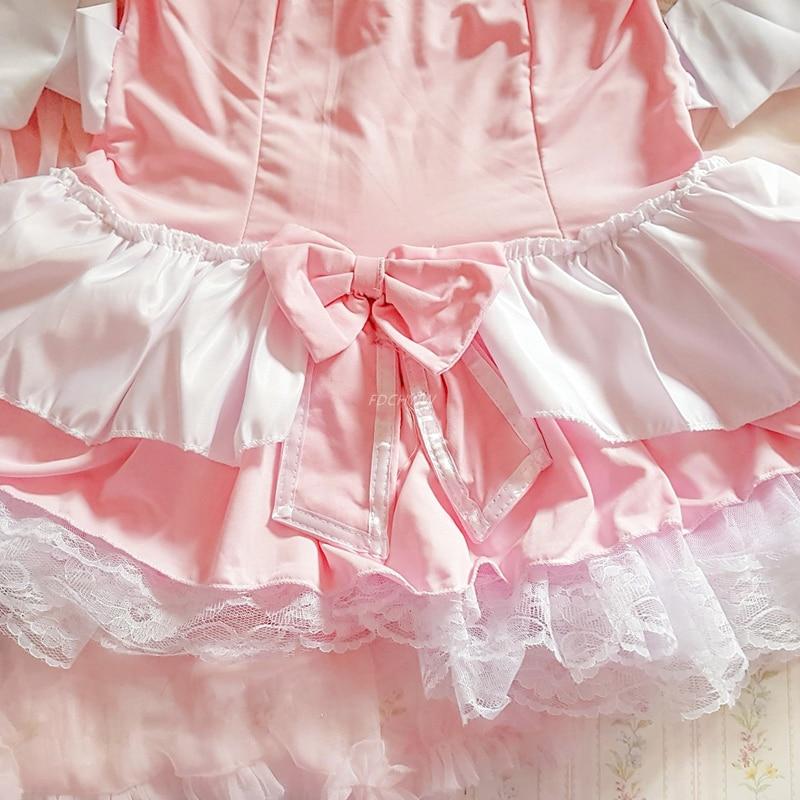 Costume de serveuse Lolita rose pour femmes, tablier Kawaii, robe, uniforme, jeu de rôle érotique, Lingerie Sexy 6