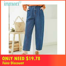 INMAN Winter Cotton Material Mid Waist Artistic Loose Style Carrot  Straight Shape Women Jeans Pants grid carrot pants