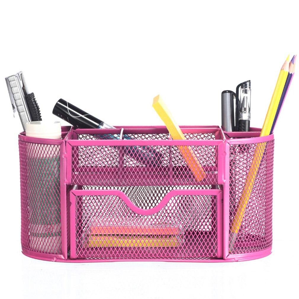 Metal Pen Holder Pen Student Multi-Function Stationery Creative Table Iron Mesh Nine Grid Combination Storage Box
