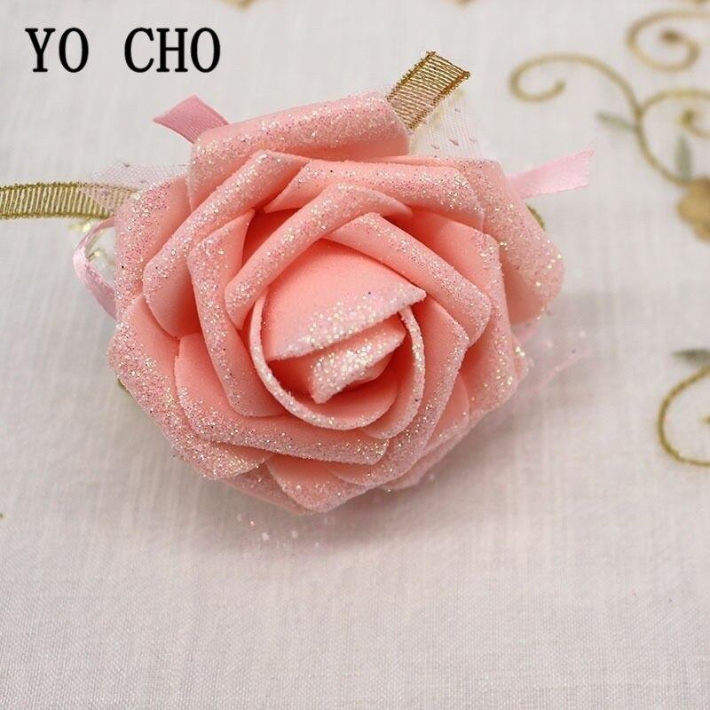 Lightspot Wrist Corsage Bridesmaids Wedding Bracelet Flowers Foam Rose White Pink Wedding Corsage Bracelets Marriage Accessories