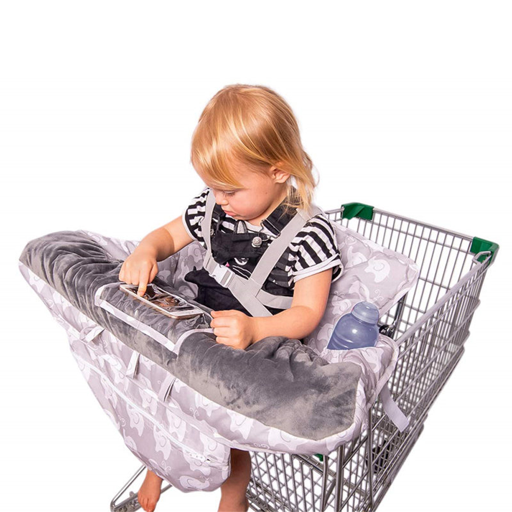 2 In 1 Positioner Safe Cart Cover High Chair Pad Protection Shopping Foldable With Pockets Baby Seat Cushion Supermarket