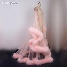 Ekstra kabarık tüy elbise uzun tül Illusion Sheer kürk elbise bir şey mavi düğün hediye doğum günü partisi elbisesi