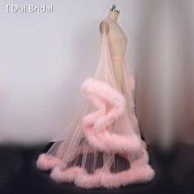 Extra Gezwollen Veer Gewaad Lange Tulle Illusion Sheer Bont Jurk Iets Blauw Huwelijkscadeau Verjaardag Party Dress