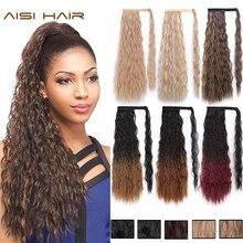 AISI-extensiones de pelo largo para mujer, coleta negra ondulada, postizo sintético con Clip, coleta marrón, pelo falso negro