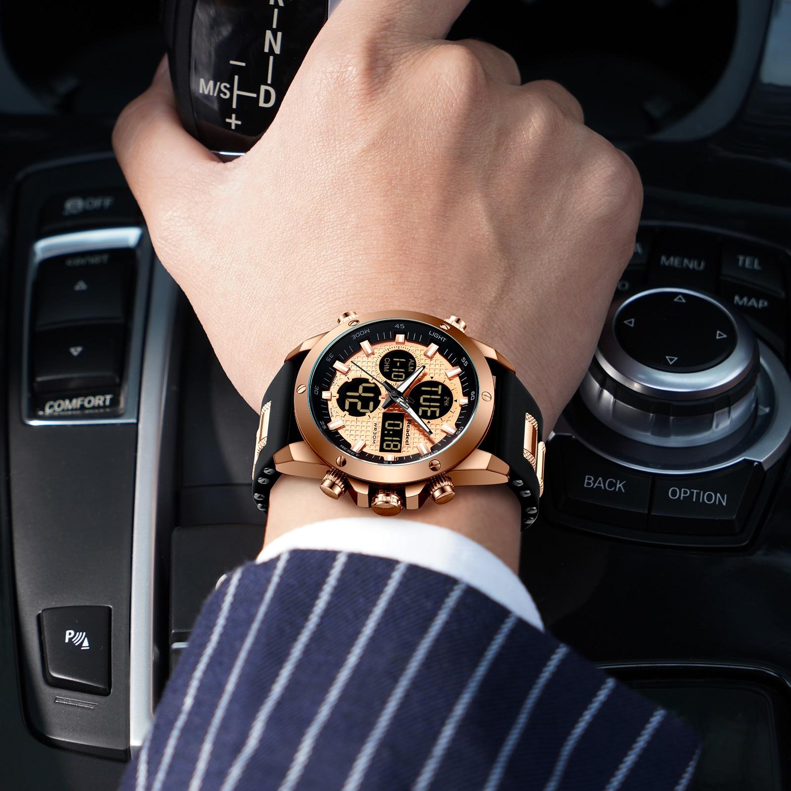 Męskie zegarki Top marka luksusowe Chronograph złota mężczyzna zegarka kwarcowe cyfrowy zegarek sportowy LED mężczyźni mężczyzna zegar mężczyzna zegarek wodoodporny 6