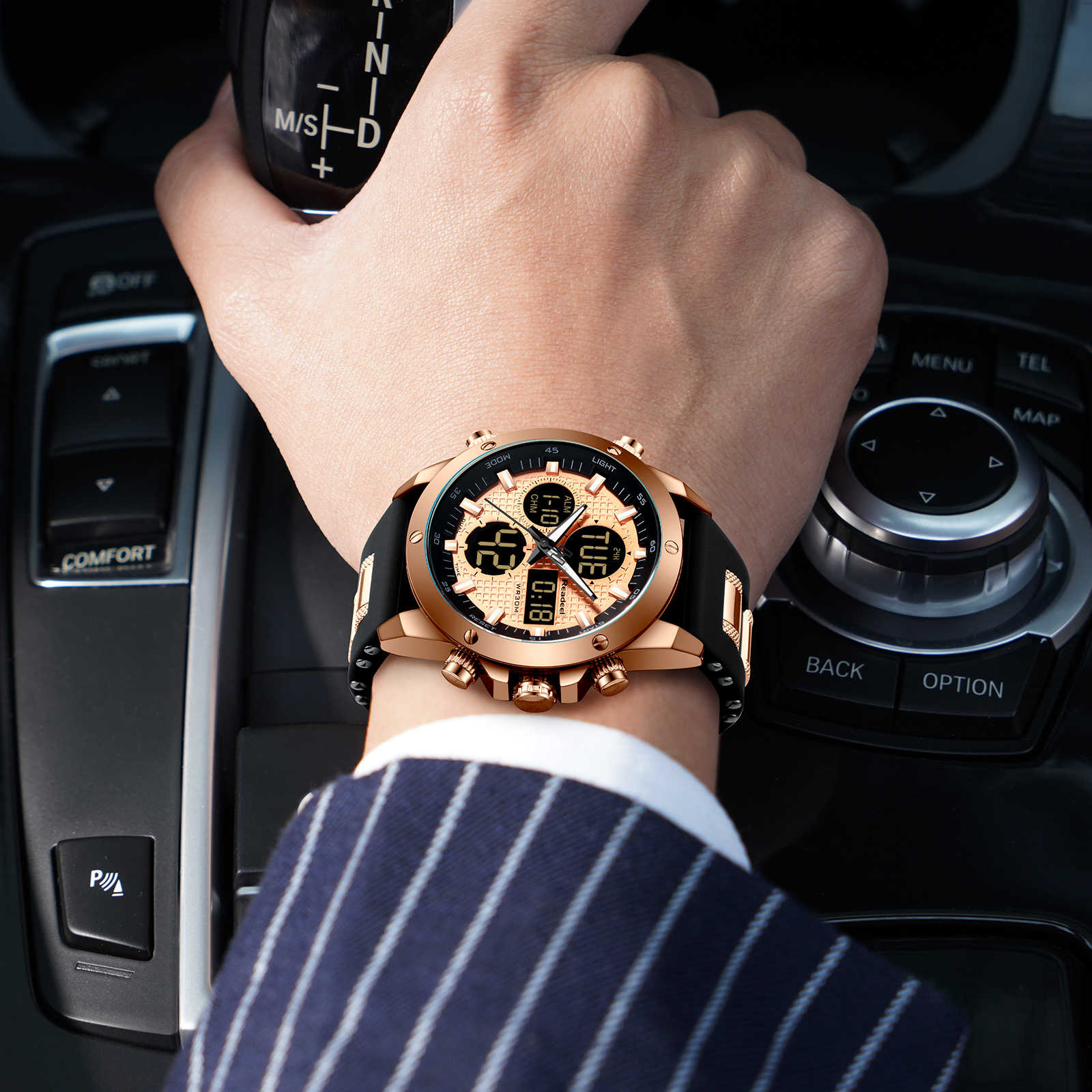Мужские s часы лучший бренд класса люкс Хронограф Золотые мужские часы Quatz цифровые светодиодные спортивные часы Мужские Водонепроницаемые наручные часы