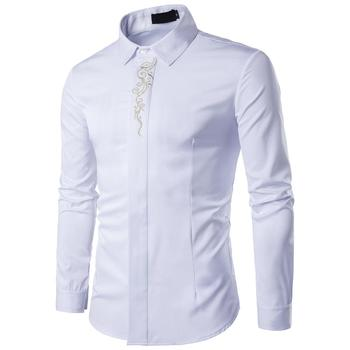 2019 Hot Casual Long Sleeved Shirts New Summer Fashion shirt Male Clothes Slim Fit embroidery pattern Cotton shirt selected men s 100% cotton slim fit embroidered long sleeved shirt s 419305564
