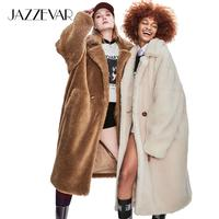 JAZZEVAR 2019 Winter New High Fashion Womens Teddy Bear Icon Parka X Long Oversized Coat Thick Warm Outerwear Loose Clothing