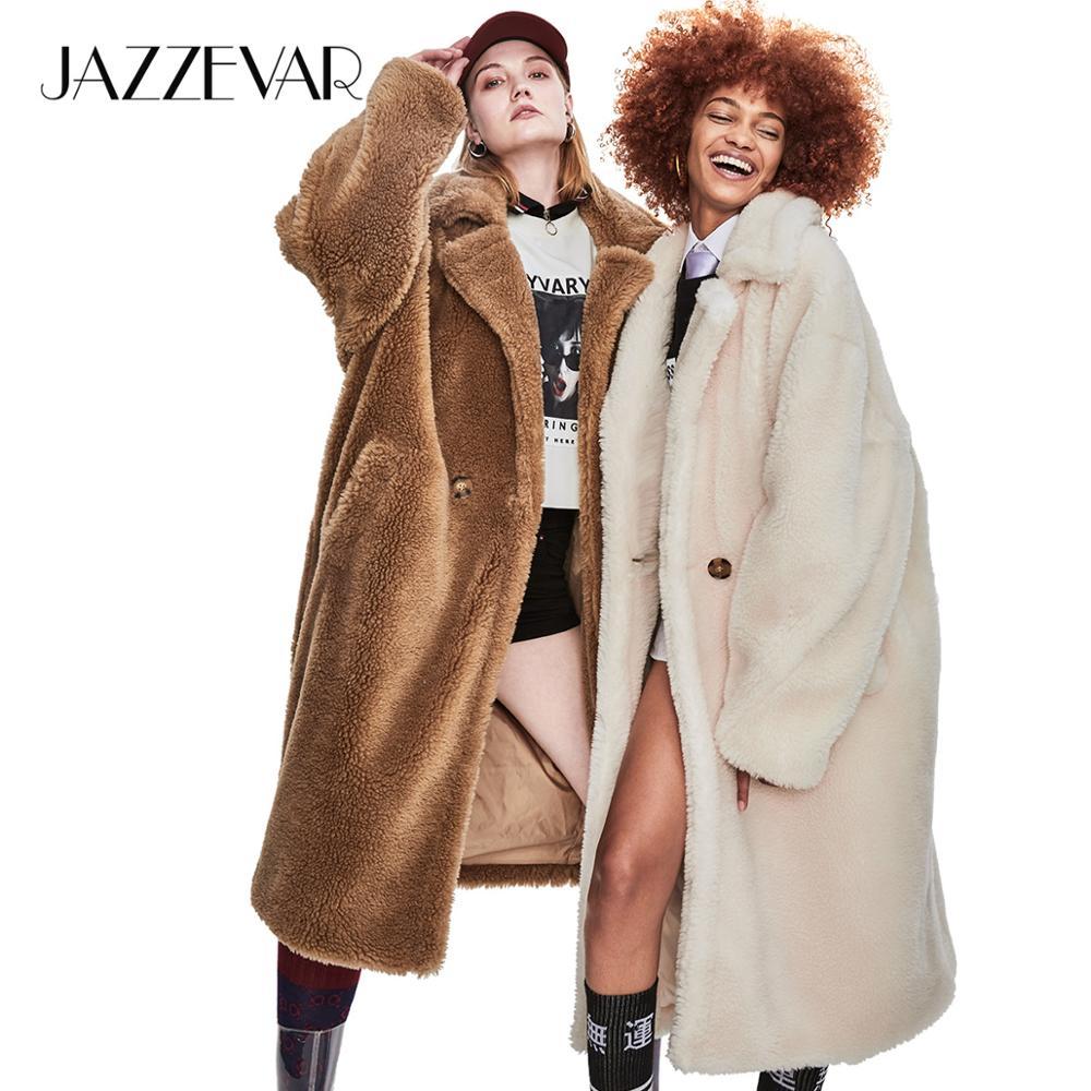 JAZZEVAR 2019 hiver nouveau haute couture femmes ours en peluche icône Parka x-long manteau surdimensionné épais chaud vêtements de dessus lâche