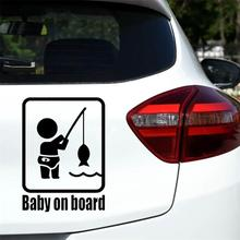 Car Stickers Funny Fishing Baby on Board Car Vehicle Reflect