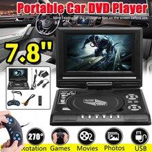 7.8 Polegada TV HD Portátil Casa Carro DVD Player CD VCD MP3 DVD Leitor de Cartões SD USB RCA TV Portatil girar a Tela LCD de Jogo cabo 16:9