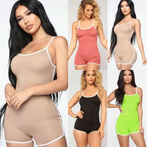 Hot Sexy Bodysuits para mujer vacaciones Crop Top Shorts Casual sin mangas verano playa Mini mono trajes de sol
