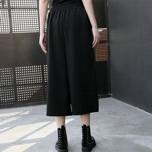 Image 2 - XITAO Street Women Pants Women Korea Fashion Patchwork High Waist Elastic Waist Pocket Elegant Wide Leg Pants 2019 WQR2040