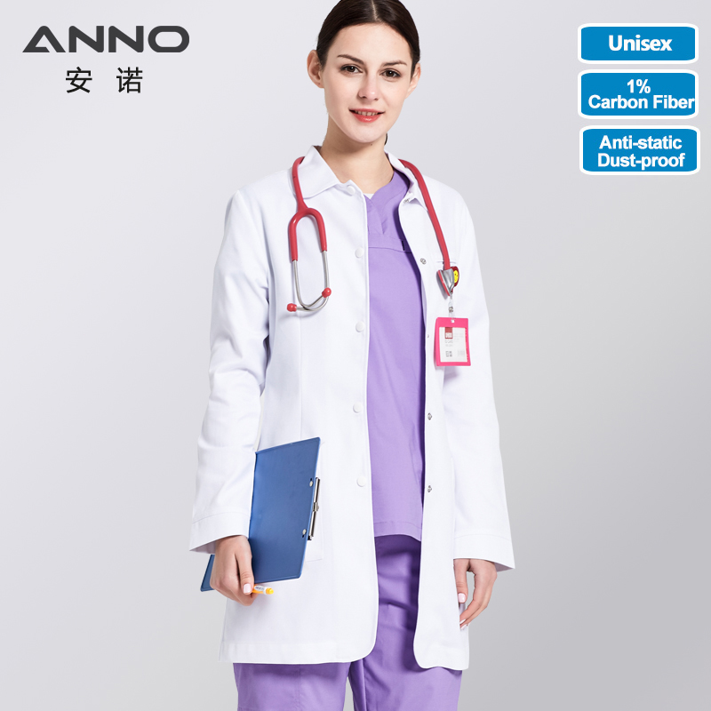 ANNO White Lab Coat Anti Static Function Doctor Uniform Scrubs Outfit Medical Clothing Long Sleeve Research Institute