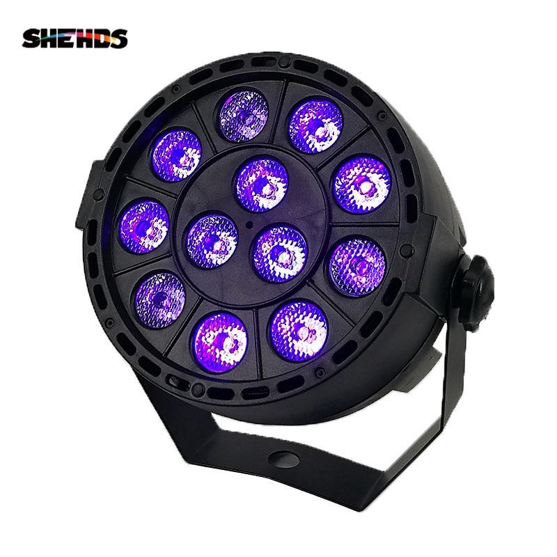SHEHDS LED Stage Light Effect 12x3W Ultraviolet Color Flat Par DMX512 DJ Disco Lamp KTV Bar Party Light Beam Projector Spotlight