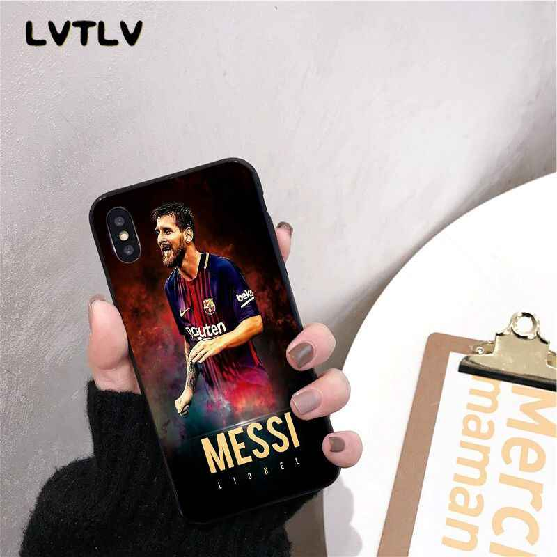 Messi Hitam Soft Shell Penutup Telepon untuk iPhone 11 Pro XS MAX 8 7 6 6S Plus X 5 5S SE XR Case