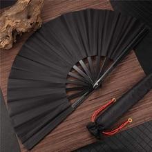 Ventilador plegable de bolsillo de estilo chino y negro, para fiesta de boda, bricolaje, Color sólido, artesanal, 1 ud.