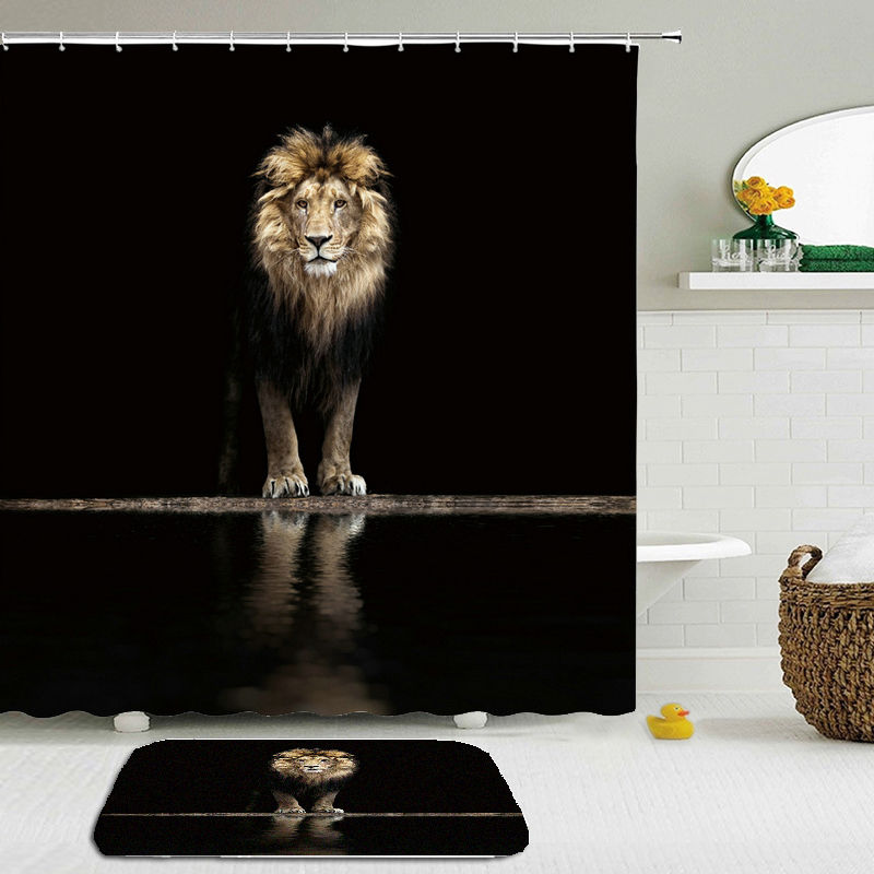 Lion Tiger Animals Bath Curtains Set Waterproof Shower Curtain 3d Printed Polyester Bathroom Non-slip Floor Mat Bath Curtain Set