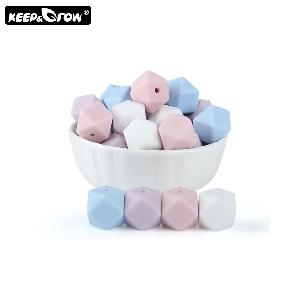 Keep&Grow 10pcs 14mm Hexagon Silicone Beads BPA Free Baby Teethers DIY Teething Beads Necklace Pacifier Chain Baby Products