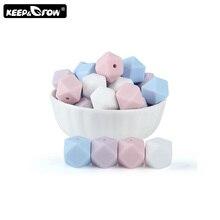 Keep&Grow 10pcs 14mm Hexagon Silicone Beads BPA Free Baby Teethers DIY Teething