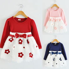 Girl Dress Toddler Kids Baby Girls Long Sleeve Tulle Patchwork Flower Bow Princess Party Dresses Clothes for Kids 6M 24M(China)