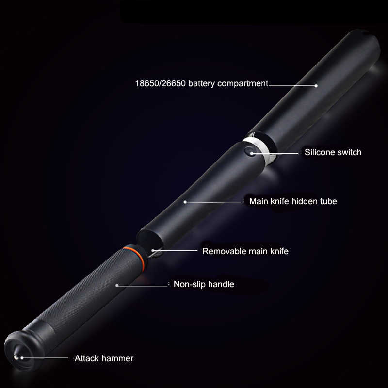 Đa Năng Gậy Bóng Chày Đèn LED Với Dao T6 Siêu Sáng Baton Đèn Pin Chiến Thuật Đèn Khẩn Cấp Và Tự Vệ