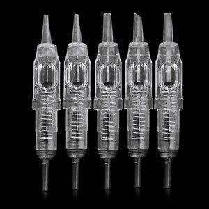 Image 2 - Dövme İğneleri 1RL 100 parça kartuş İğneler tek kullanımlık sterilize dövme kalıcı makyaj İğneler İpuçları kaş dudak için 0.3mm